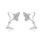 S925 Sterling Silver Butterfly Love Women Earrings