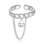 S925 Sterling Silver Smile Face Women Open Ring