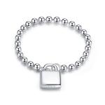 S925 Sterling Silver Simple Heart Lock Women Ring, Size:6