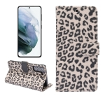 For Samsung Galaxy S21 5G Leopard Pattern Horizontal Flip Leather Case with Holder & Card Slots(Brown)