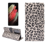 For Samsung Galaxy S21 Ultra 5G Leopard Pattern Horizontal Flip Leather Case with Holder & Card Slots(Brown)