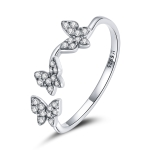 S925 Sterling Silver Fantasy Butterfly Women Open Ring