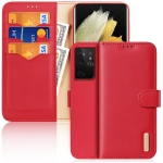For Samsung Galaxy S21 Ultra 5G DUX DUCIS Hivo Series Cowhide + PU + TPU Leather Horizontal Flip Case with Holder & Card Slots(Red)