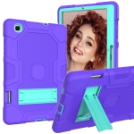 For Samsung Galaxy Tab S6 Lite P610 Contrast Color Robot Shockproof Silicone + PC Protective Case with Holder (Purple Mint Green)
