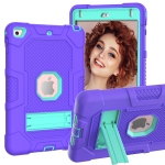 Contrast Color Robot Shockproof Silicone + PC Protective Case with Holder For iPad mini 5 / 4(Purple Mint Green)
