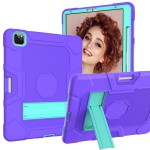 Contrast Color Robot Shockproof Silicone + PC Protective Case with Holder For iPad Pro 12.9 inch (2020)(Purple Mint Green)