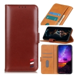 For HTC Desire 21 Pro 3-Color Pearl Texture Magnetic Buckle Horizontal Flip PU Leather Case with Card Slots & Wallet & Holder(Brown)