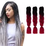 Fashion Color Gradient Individual Braid Wigs Chemical Fiber Big Braids, Length: 60cm(04 Black+Red)