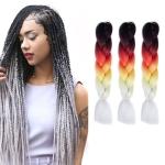 Fashion Color Gradient Individual Braid Wigs Chemical Fiber Big Braids, Length: 60cm(25 Black+Red+Yellow+White)
