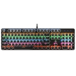 HJK820-7 104-keys Electroplated Punk Keycap Colorful Backlit Wired Mechanical Gaming Keyboard, Support Autonomous Shaft Change(Black)