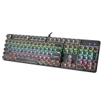 HJK900-5 104-keys Electroplated Punk Keycap Colorful Backlit Wired Mechanical Gaming Keyboard(Black)