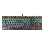 HJK917-7 87-keys Electroplated Two-color Transparent Character Punk Keycap Colorful Backlit Wired Mechanical Gaming Keyboard, Cable Length: 1.6m(Black)