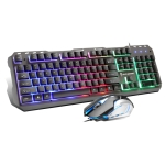 SHIPADOO GT500 1000 DPI 104-key Wired RGB Gaming Color Backlight Metal Feel Suspension Keyboard Mouse Kit for Laptop, PC (Black)