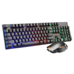 SHIPADOO GT200 1000 DPI 104-key Wired RGB Color Backlight Mechanical Feel Suspension Gaming Keyboard Mouse Kit for Laptop, PC (Black)