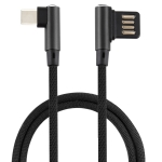 2A USB Elbow to USB-C / Type-C Elbow Braided Data Cable, Cable Length: 1m (Black)