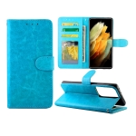 For Samsung Galaxy S21 Ultra 5G Crazy Horse Texture Leather Horizontal Flip Protective Case with Holder & Card Slots & Wallet & Photo Frame(Baby Blue)