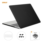 ENKAY 3 in 1 Matte Laptop Protective Case + EU Version TPU Keyboard Film + Anti-dust Plugs Set for MacBook Pro 15.4 inch A1707 & A1990 (with Touch Bar)(Black)