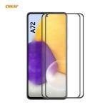 For Samsung Galaxy A72 4G / 5G 2 PCS ENKAY Hat-Prince Anti-drop Full Glue Tempered Glass Full Screen Film Anti-fall Protector