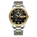FNGEEN S888 Men Local Non Mechanical Steel Strips Watch Luminous Quartz Watch(Gold And Black Surface)