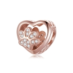 S925 Sterling Silver Heart Shaped Pet Paw Print Beads DIY Bracelet Beaded Accessories