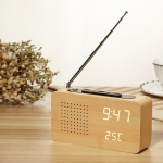 Dotted Log White Light Multifunctional Retro Radio Wooden Alarm Clock Mute Electronic Clock