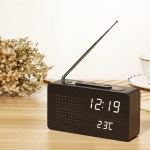 Dotted Black Wood White Light Multifunctional Retro Radio Wooden Alarm Clock Mute Electronic Clock