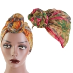 3 PCS Tie-Dye Ball Turban Hat Ethnic Style Knotted Hat Ladies Scarf Wrap Head Hat(Rose Red Green)