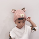 MZ8333 Cartoon Sheep Shape Children Knitted Hat Autumn and Winter Woolen Hat, Size: One Size(Pink)