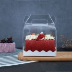 50 Pieces Portable Long Cake Roll Transparent Box Pastry Baking Packaging Box, Specification: Small Roll (13x8x10cm)