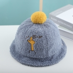 Children Hat Autumn and Winter Lamb Velvet Basin Hat Warm Hair Ball Fisherman Hat, Size: Cap Circumference About 50cm( Blue)
