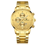 FNGEEN W5128 Men Three Eyes Subdial Luminous Quartz Watch Student Simple Watch(Full Gold Golden Surface)