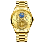 FNGEEN S999 Men Non-Mechanical Watch Calendar Dragon And Phoenix Pattern Couple Watch(Full Gold Gold Surface)