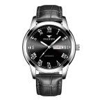 FNGEEN 4002 Men Roman Numeral Dial Sports Watch Student Luminous Quartz Watch(Black Leather White Steel Black Surface)