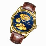 FNGEEN 8818 Men Automatic Mechanical Watch Double-Sided Hollow Watch(Leather Gold And Blue Surface)