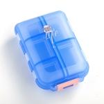 Mizi Small Pill Box Portable Dispensing Medicines Boxes, Colour: 10 Grid (Blue)