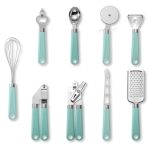 9 in 1 Plastic Handle Stainless Steel Kitchen Utensils Household Gadget Set(Cyan)