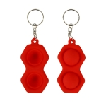 4 PCS Press Bubble Fun Mini Pressure Relief Fingertip Toy Silicone Finger Practice Keychain,Style: Hexagon (Red)
