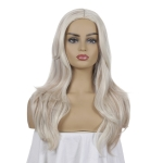 Women Mid-Point Mid-Length Curly Wig Chemical Fiber Headgear(Light Gold+Brown)