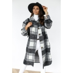 Autumn And Winter Long-sleeved Plaid Printed Shirt Jacket (Color:Black Size:S)