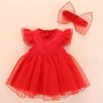 Girls Short-sleeved Mesh Dress With Bow (Color:Red Size:50)