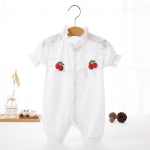 Solid Color Baby Girl Short Sleeve Jumpsuit (Color:White Size:80)