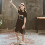 Girls Skirt Round Neck Short Sleeve Simple Casual Loose Straight Mesh Stitching Printed Dress (Color:Black Size:120)
