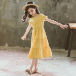 Girls Short-sleeved Dark Jacquard Cotton Round Neck Ruffle Dress (Color:Yellow Size:160)