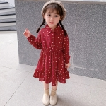 Girls Fashion Long Sleeve Dress (Color:Red Size:130)