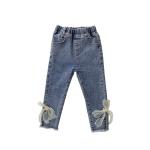 Girls Fashion Bow Slim Jeans (Color:Blue Size:100)