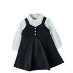 Girls Shirt + Suspender Skirt Two-piece Suit (Color:Photo Color Size:130)