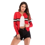 Striped Knitted Cardigan Slim All-match Jacket (Color:Red Size:M)