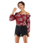 Sexy Strapless Sling Print Chiffon Shirt (Color:Wine Red Size:M)