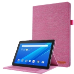 For Lenovo Tab E10 Horizontal Flip TPU + Fabric PU Leather Protective Case with Name Card Clip(Rose Red)