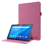 For Lenovo Tab P10 Horizontal Flip TPU + Fabric PU Leather Protective Case with Name Card Clip(Rose Red)